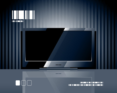 flat screen tv: Vector LCD TV screen. Black flat panel.