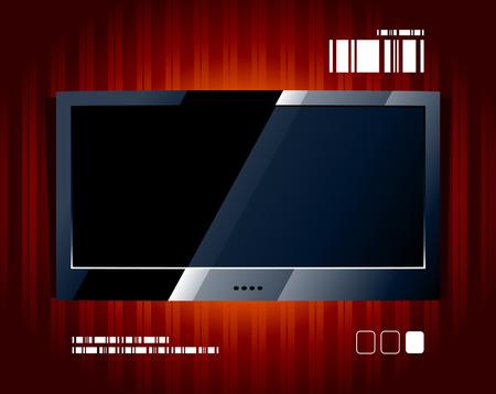 flat panel: Vector LCD TV screen. Black flat panel.