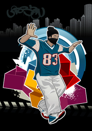 Cool image with young gangster on dark background Vector
