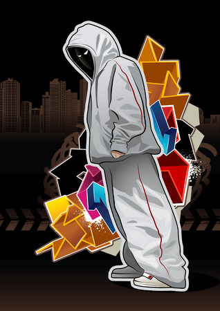 Cool image with young gangster on dark background