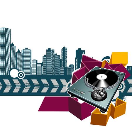 decibel: Turntable on grunge background