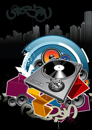 Turntable on grunge background