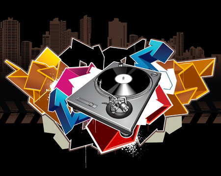 Turntable on grunge background Vector