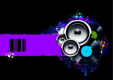 Abstract musical background with vinyl discs and speakers. Vector illustration.