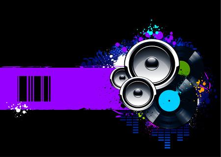 Abstracte muzikale achtergrond met vinyl schijven en luidsprekers. Vectorillustratie.