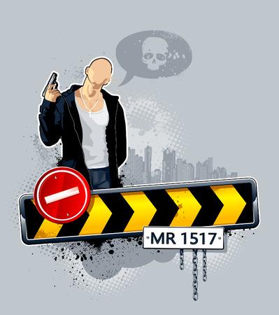 hooligan: Illustration der Gangster auf Stra�e. Abstrakte Idee.