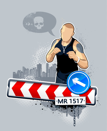 illustration of gangster on road. Abstract idea. Vector
