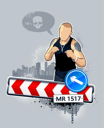 갱: illustration of gangster on road. Abstract idea. 일러스트