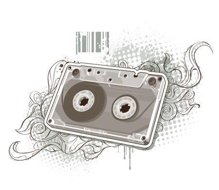 cassette: Audio tape on bizarre background.