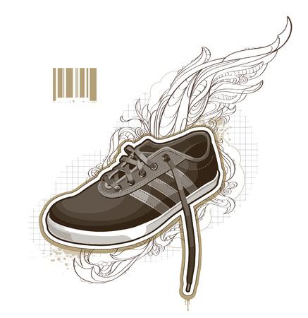 chaussure sport: D�marrer sur fond bizarre. illustration.