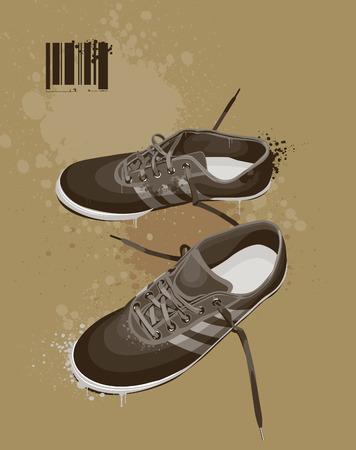 Boots on dirty grunge background. illustration. Vektorové ilustrace