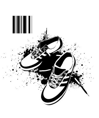 casual dress: Black boots on dirty grunge background.  illustration. Illustration