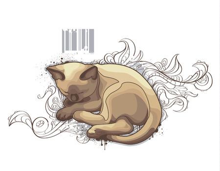 surrealism: The cat on bizarre background. illustration.