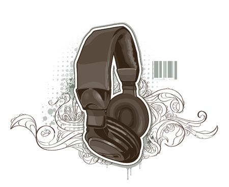 bizarre: Headphones on bizarre background. illustration.