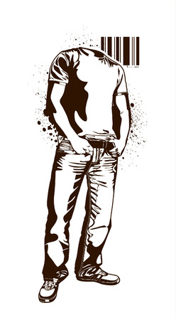 casual dress: Monochrome man without head. illustration. Illustration