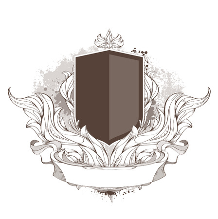 Badge and bizarre pattern on dirty background. Banner for your text. Vector