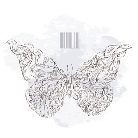illustration of bizarre butterfly. Vector