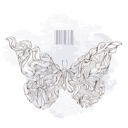 surrealism: illustration of bizarre butterfly.