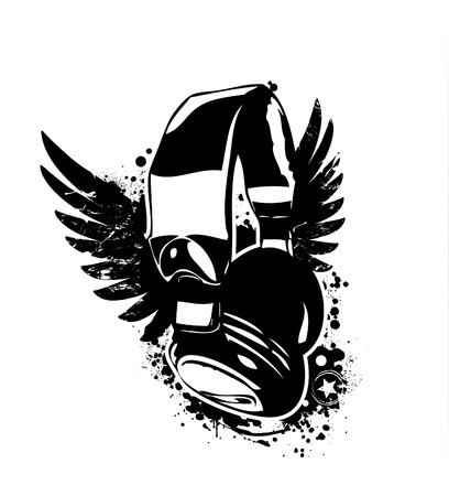 Grunge headphones on dirty background.