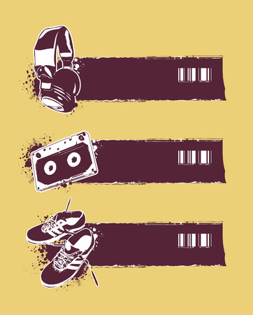 Set of grunge banners. Vector illustration. Vector