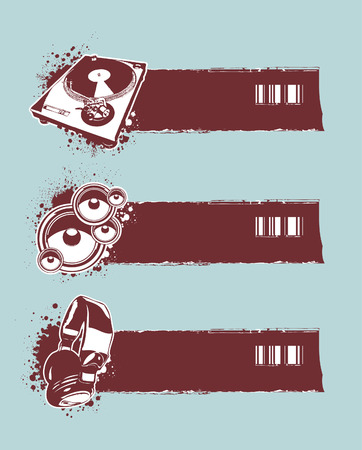 Set of musical grunge banners. Vector