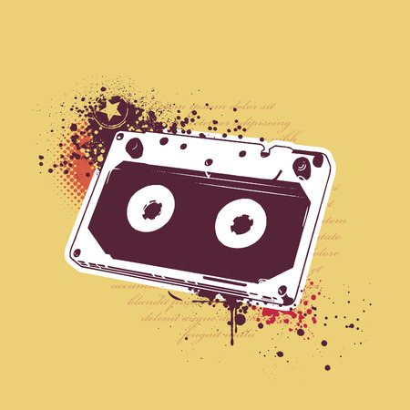 Grunge audio tape on dirty background.  Vector
