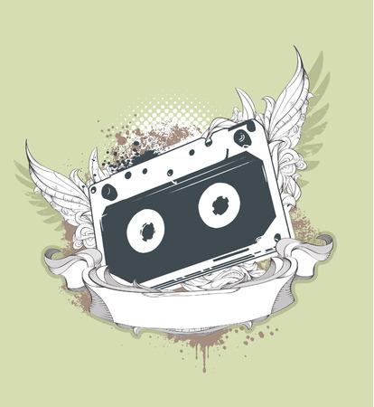 bizarre: Grunge audio tape on dirty background with bizarre pattern.