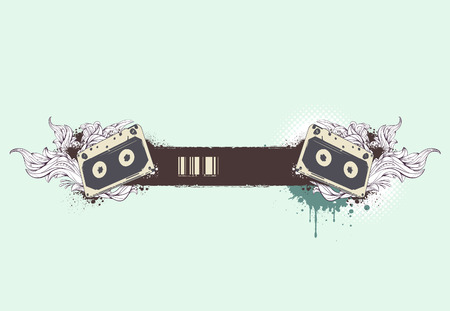 Grunge musical banner with bizarre pattern.  Vector
