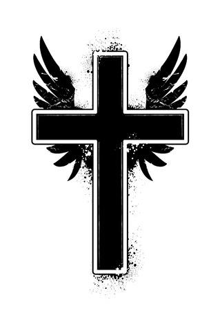 cross and wings: cross shape. Grunge style.