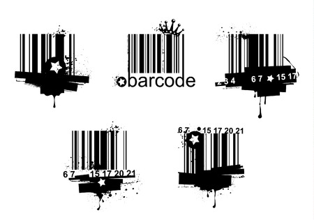 Grunge barcodes isolated on white background Vector