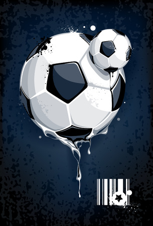 Soccer ball on dirty background. Abstract grunge style.  Illustration