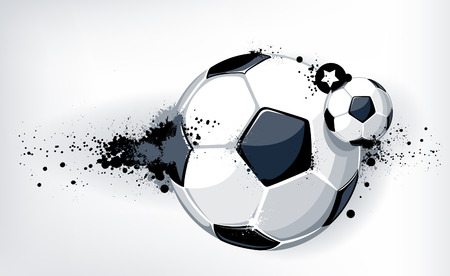 Ballon de soccer sur fond sale. Style grunge abstraite