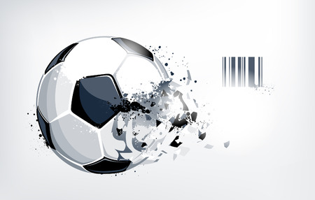 Broken soccer ball on white background. Abstract grunge style. Vector