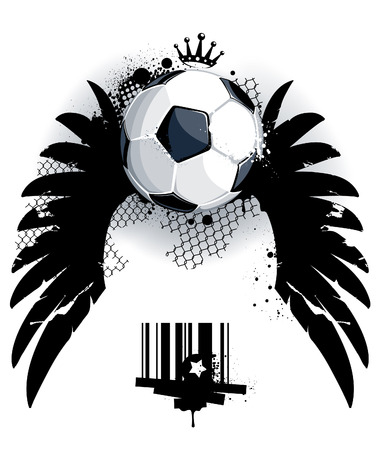 Soccer ball on dirty background. Abstract grunge style Vector
