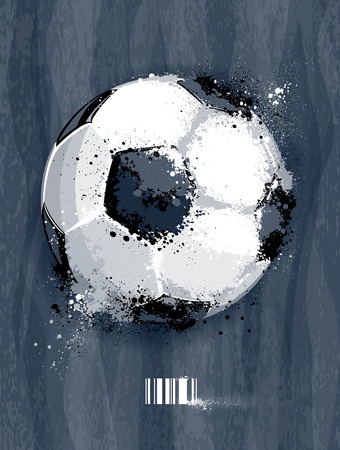Soccer ball with dirty liquid effect on dirty background. Abstract grunge style.