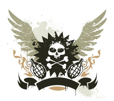 group of elements: Grunge gang design.