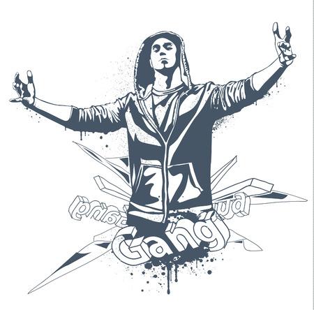 갱: Grunge gang design.  일러스트