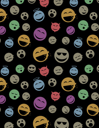 Modern seamless texture with smile balls. Cool grunge style.  Vector