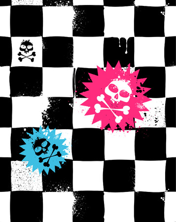 Modern seamless texture with skulls. Cool emo style. Vector