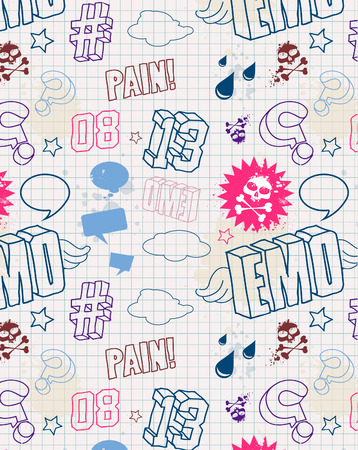 Modern seamless texture. Cool emo style.  Vector