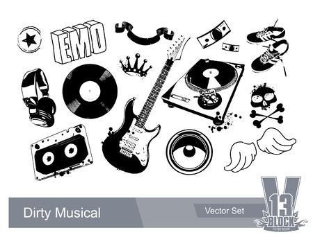 Set of dirty grunge elements for musical design. EPS10 Vector