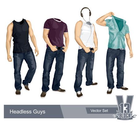 Ensemble de gars headless isolé sur fond blanc. Illustration de la EPS10.