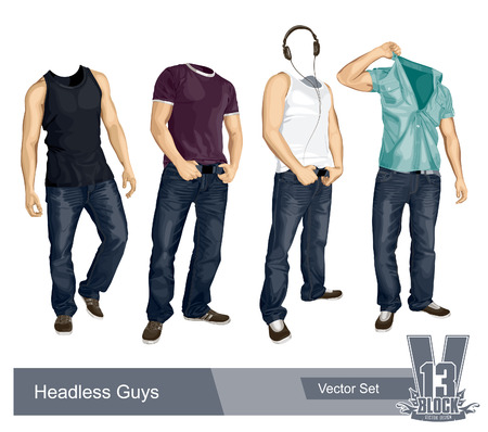 Set of headless guys isolated on white. EPS10 illustration.
