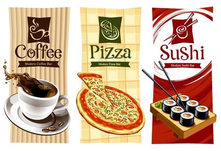 logotipos de restaurantes: Diseños de las plantillas de banners de alimentos. Café, pizza y sushi. Ilustración vectorial. Vectores
