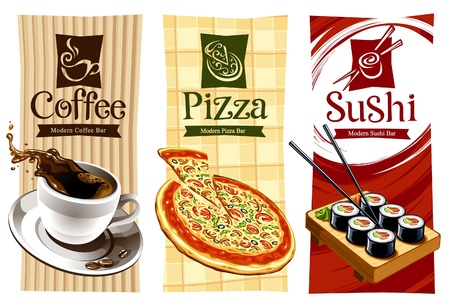 coffee: Template designs of food banners. Coffee, pizza and sushi. Vector illustration.