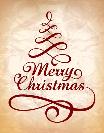 Calligraphic Christmas lettering . Vector illustration.