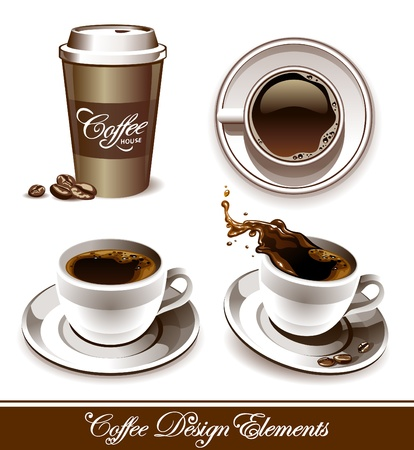 java: Vector set of coffee cups. All elements are grouped and layered.