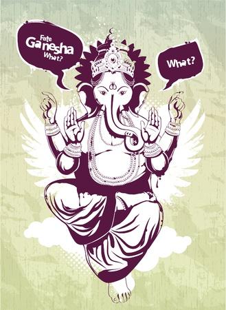 ancient yoga: Graffiti image with indian idol Ganesha. Vector illustration. Illustration