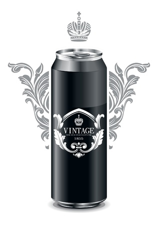 Can with vintage picture. Vector illustration.