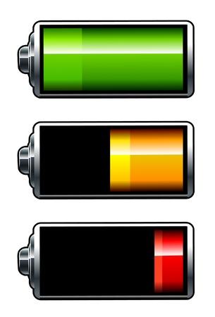 Ikony baterii wektorowe. Wszystkie elementy są grupowane.